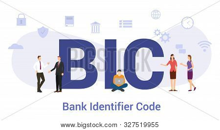 Bic Bank Identifier Code Concept With Big Word Or Text And Team People With Modern Flat Style - Vect