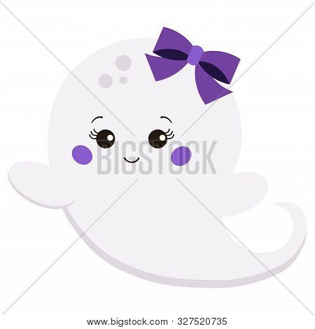 Vector Illustration Flat Design Kawaii Cute Sweet Cartoon Baby Girl With Bow Ghost Isolated On White