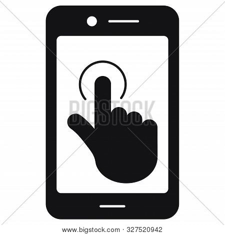 Vector Flat Design Black Color Touch Screen Smartphone Sign Icon Isolated On White Background.