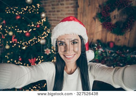Close Up Photo Of Positive Cheerful Girl Enjoy Christmas Time Vacation Make Selfie Wear Santa Claus