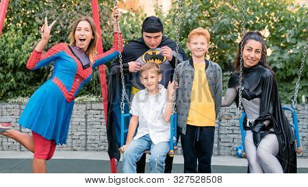 09/05/2019, Kyiv, Ukraine: Actors In Suits Of Spiderman And Batman Working At The Birthday Party For