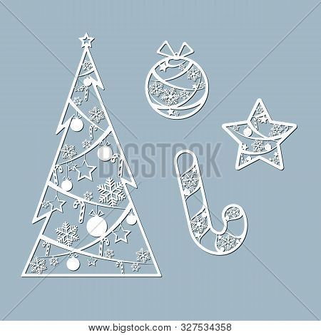 Lasercut Christmas Tree Ball Candy Toy Star Christmas Theme Set Design Element Of A Lasercut Lace Ch