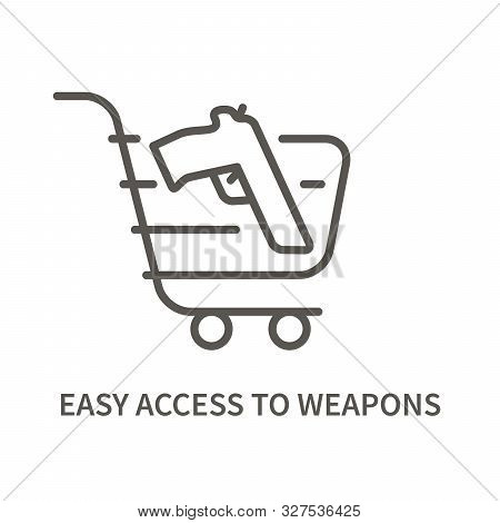 Handgun In Basket Linear Icon. Facktor For Suicide - Easy Access To Lethal Methods. Vector Illustrat