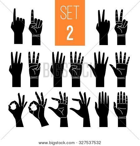 Woman Hands Showing Gesture Glyph Icons Set. One, Two, Three, Four, Five Numbers Symbol. Arm Pointin
