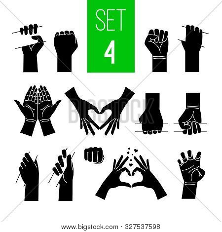 Woman Hands Showing Gestures Black Illustrations Set. Arm Holding Bar, Stick, Bus Handrail Isolated
