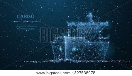 Worldwide Cargo Ship. Polygonal Wireframe Mesh Art. Transportation, Logistic, Shipping Concept Illus