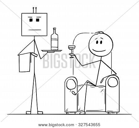 Vector Cartoon Stick Figure Drawing Conceptual Illustration Of Rich Man Sitting In Armchair Or Chair