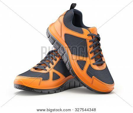 Sport Shoes Orange-black On White Background - 3d Illustration