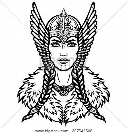 Portrait Of The Woman Of The Valkyrie. Linear Drawing. Vector Illustration Isolated On A White Backg