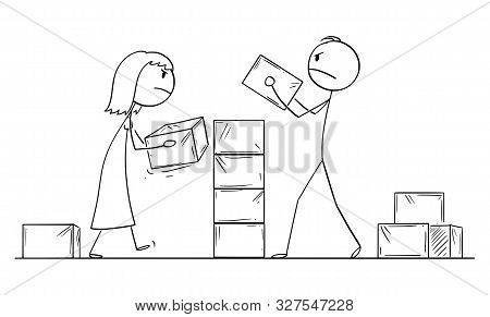 Vector Cartoon Stick Figure Drawing Conceptual Illustration Of Couple Of Man And Woman Building Wall