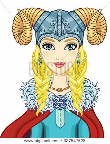 Animation Portrait Of The Girl Valkyrie In A Horned Helmet. Vector Illustration Isolated On A White