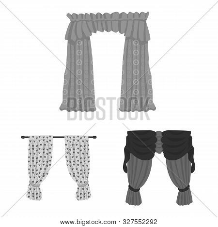 Isolated object of interior and cornice icon. Collection of interior and drapes stock vector illustration. poster