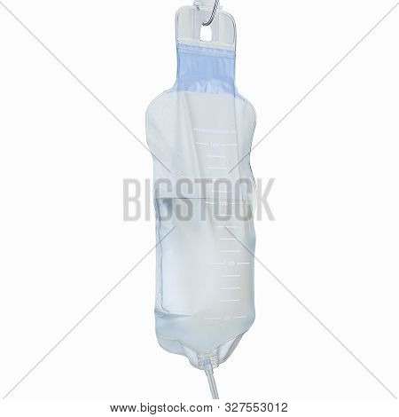 Enema Detoxification Bag With Water Isolated On White Background With Clipping Path Side View