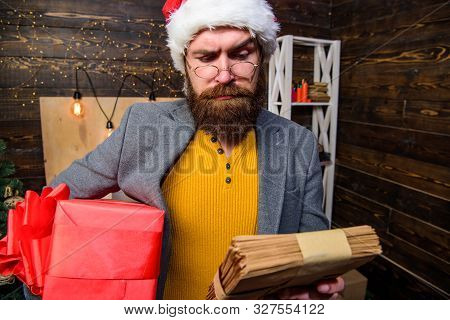 Gifts Delivery Service. Letter For Santa Claus. Man Mature Bearded With Eyeglasses Received Post For