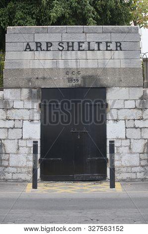 Gibraltar, Uk - July 27th 2019: 1939 British Air Raid Shelter In  Gibraltar. Western Seaboar. Britis