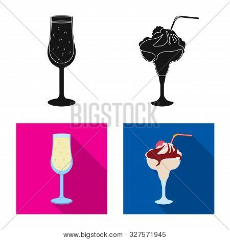 Vector Design Of Liquor And Restaurant Logo. Collection Of Liquor And Ingredient Vector Icon For Sto