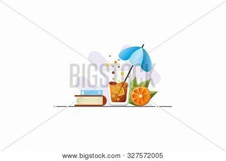 Illustration With Cocktail, Orange And Books. Modern And Light Illustration In A Minimalist Style