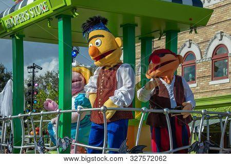 Orlando, Florida. October 5, 2019. Bert And Ernie In Sesame Street Party Parade At Seaworld 3