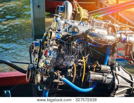 Boat Engine Of Amphawa Floating Market Thailand, Thai Style Boat Transportation