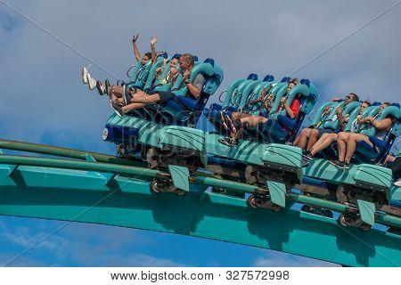 Orlando, Florida. October 5, 2019. People Having Fun Terrific Kraken Rollercoaster At Seaworld 22