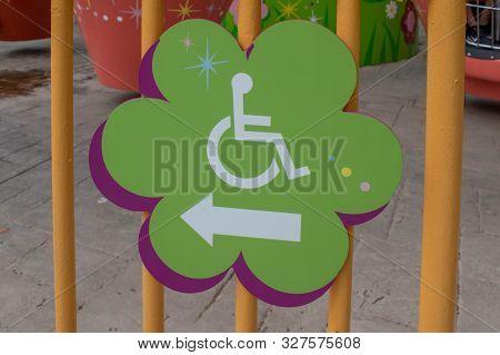 Orlando, Florida. September 21, 2019. Disability Sign At Seaworld 24
