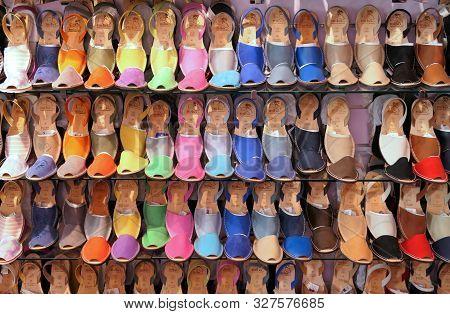 Ciutadella, Menorca, Spain - August 13, 2018 : Traditional Menorcan Abarca Sandals At Mibo Shop Disp