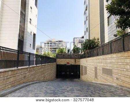 Rishon Le Zion, Israel  October 07, 2019: Residential Building Underground Garage  In Rishon Le Zion