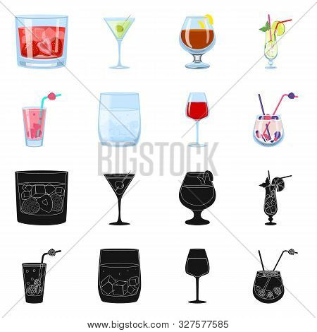 Vector Illustration Of Liquor And Restaurant Symbol. Collection Of Liquor And Ingredient Stock Vecto
