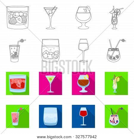 Isolated Object Of Liquor And Restaurant Icon. Collection Of Liquor And Ingredient Vector Icon For S