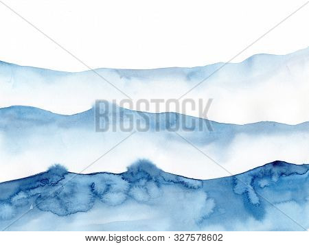 Watercolor Blue Winter Snowing Background, Look Like Wave And Sea. Original Painting On Watercolour