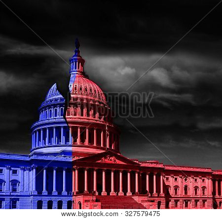 The United States Capitol Building Half Red And Blue, Representing Democrat And Republican Political
