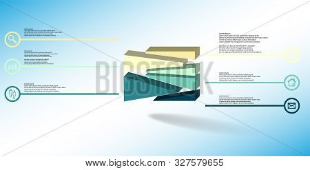 3D Illustration Infographic Template With Embossed Cube Randomly Divided To Six Moved Parts