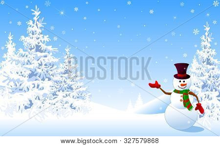 Snowman In A Hat Welcomes Against The Backdrop Of A Winter Snowy Forest. Snowman On The Background O