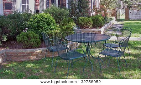 Restful patio set in garden