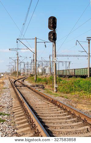 Ways Of Railway. Wagons On Rails. Semaphore Near The Rails. Freight Train.