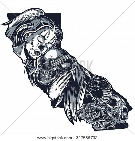 Vintage Beautiful Chicano Girl Concept With Angel Wing Female Hand Cat Skull Rose Flowers And Snake