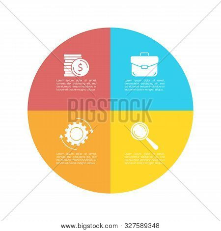 Round Infographic Template With 4 Steps For Presentation Or Chart. Business Concept Circle Diagram.