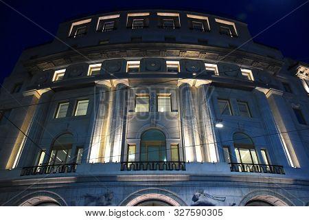 Milan, Italy, 08.04.2019: The Fully Renovated, Illuminated, Fascinating Building Of The Bnl (banca N