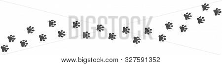 Dog, Wolf Or Cat Paws Print. Footpath Trail Of Animal, Vector Illustration