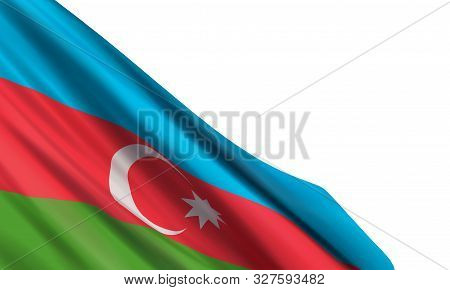 Background With A Realistic Flag Of Azerbaijan. Vector Element For Republic Day, National Salvation