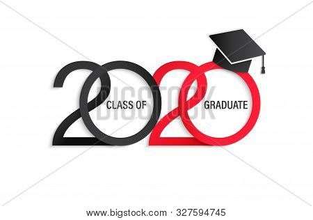Class Of 2020, Elegant Card In Black And Red Colors For Banners, Flyers, Greetings, Invitations, Bus