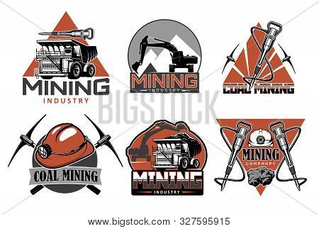Coal Mining Industry Icons With Vector Mining Underground Equipment, Tools And Machines. Pick Axe, H