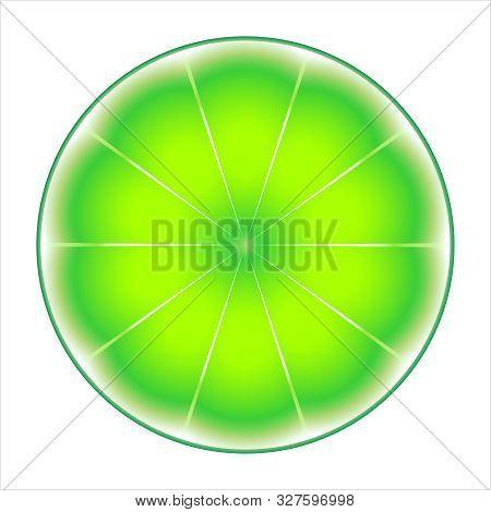 Fresh Ripe Slice Lyme. Slice Lyme Isolated On White Background. Vector Illustration
