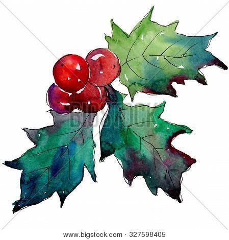 Christmas Winter Holiday Symbol Isolated. Watercolor Background Set. Isolated Christmas Illustration