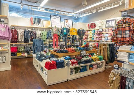 Key West, Florida, Usa - September 13, 2019: Clothing On Display At Gap Store In Key West. Gap Is An
