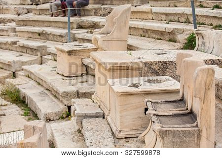 Detail Of The Seating At The Theatre Of Dionysus Eleuthereus The Major Theatre In Athens And Conside