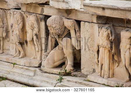 Detail Of The Reliefs Which Decorete The Theatre Of Dionysus Eleuthereus The Major Theatre In Athens