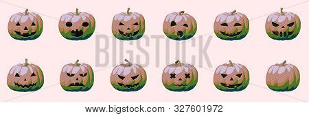 Pumpkin Smile Set For Glamour And Modern Halloween, Fun And Creepy Autumn Vector Illustration Of Shi