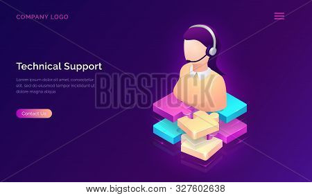 Technical Support Or Online Assistant Isometric Concept Vector Illustration. Female Figure In Headse