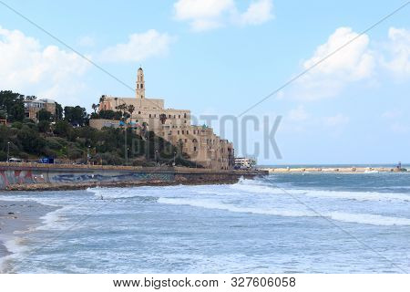 Tel Aviv, Israel - March 17, 2019: Coastline Panorama Of City Tel Aviv Jaffa With Mediterranean Sea